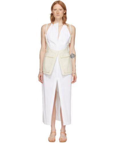 Открытое белое платье с открытой спиной без рукавов Jacquemus