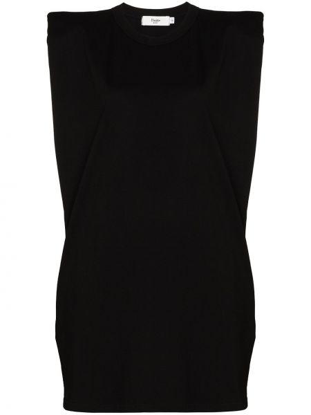 Ватное хлопковое черное платье-рубашка Frankie Shop