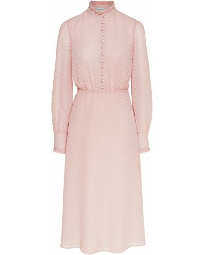 Приталенное платье с оборками с воротником-стойка ли-лу
