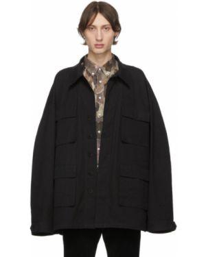 Черная длинная куртка милитари на пуговицах оверсайз Schnaydermans