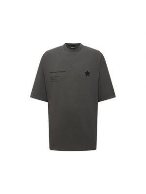 Серая хлопковая футболка Comme Des Fuckdown