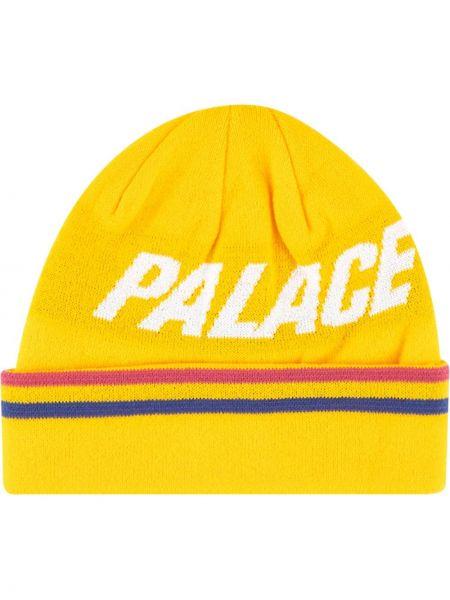 Желтая вязаная шапка бини с вышивкой Palace