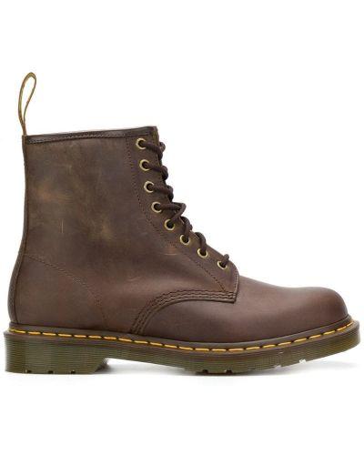 Коричневые кожаные ботинки милитари Dr Martens