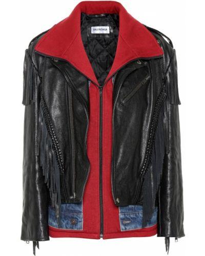 Кожаная куртка черная джинсовая Balenciaga