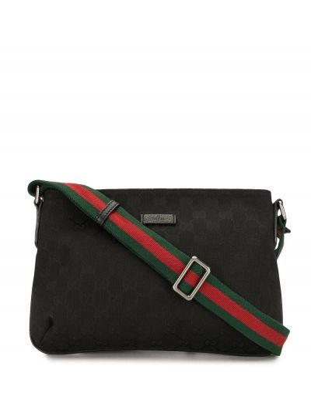 Парусиновая черная сумка через плечо на молнии с нашивками Gucci Pre-owned