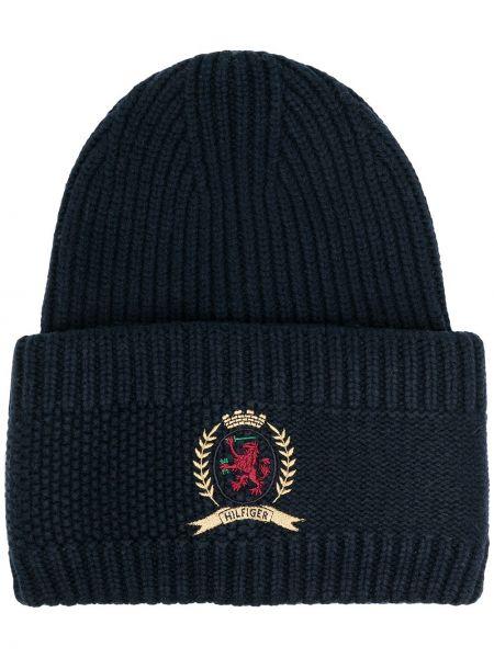 Кашемировая вязаная синяя шапка бини с нашивками Hilfiger Collection