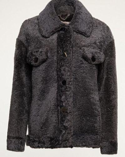 Серая короткая куртка с воротником из овчины Alcato