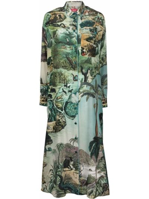Шелковое платье макси - зеленое F.r.s. For Restless Sleepers