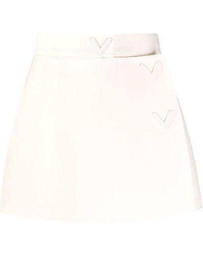 Biały z wysokim stanem jedwab spodnie culotte z kieszeniami Valentino