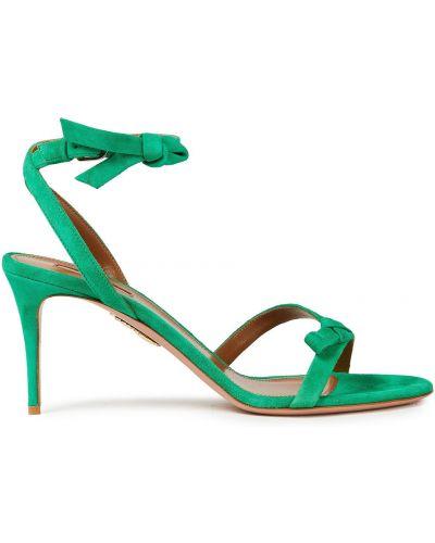 Zielone sandały z klamrą Aquazzura