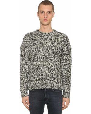 Prążkowany biały sweter wełniany Calvin Klein Established 1978