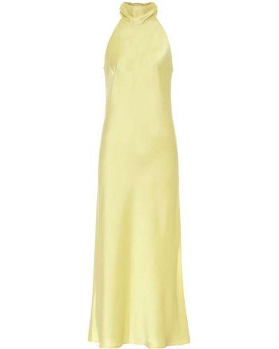 Сатиновое желтое платье миди на бретелях с воротом халтер Galvan