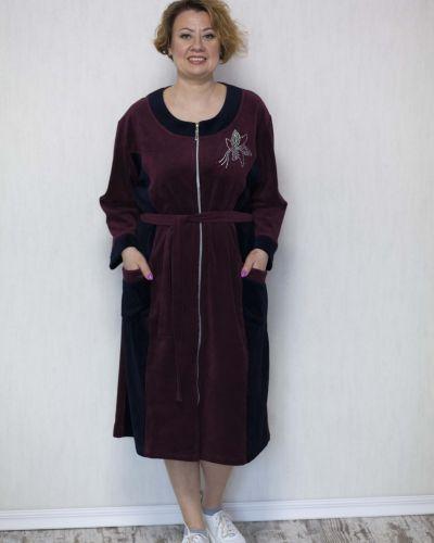 Велюровый халат - красный Lily