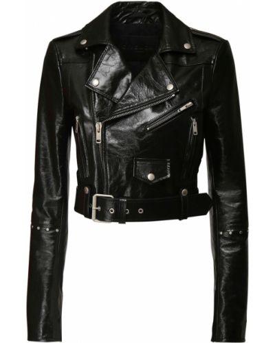 Czarny kurtka z mankietami z prawdziwej skóry z klamrą Givenchy
