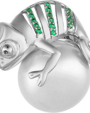 Серебряная брошь с камнями с жемчугом Contessa