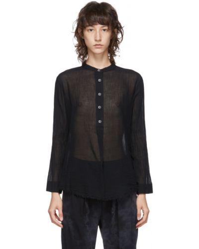 Черная блузка с воротником с жемчугом с длинными рукавами Raquel Allegra