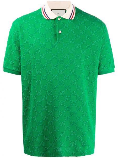 Zielony bawełna koszula krótkie z krótkim rękawem krótkie rękawy z kołnierzem Gucci