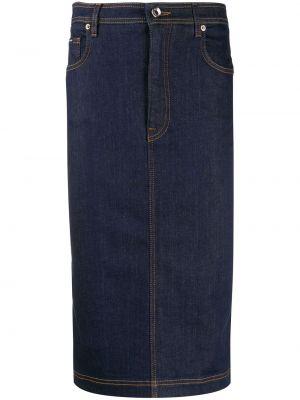 Кожаная юбка джинсовая на пуговицах Dolce & Gabbana