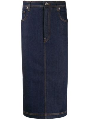Синяя кожаная юбка карандаш на пуговицах Dolce & Gabbana
