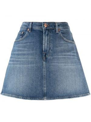 Синяя прямая с завышенной талией джинсовая юбка 7 For All Mankind