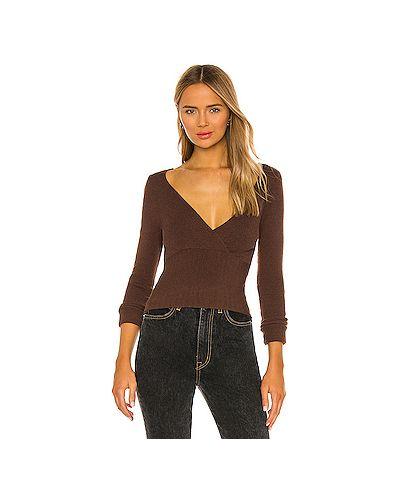 Нейлоновый коричневый свитер в рубчик с вырезом L'academie