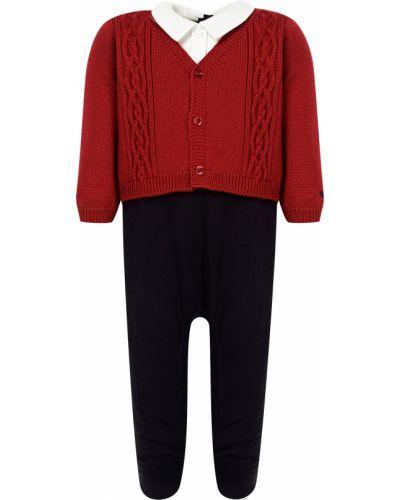 Хлопковый красный комбинезон Armani Junior
