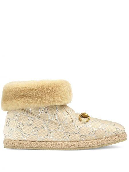 Beżowy buty okrągły okrągły nos z lurexem Gucci