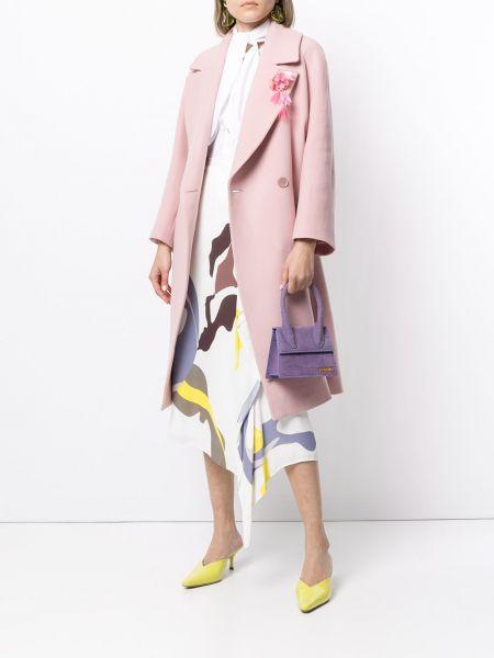 Розовое шерстяное длинное пальто двубортное Delpozo