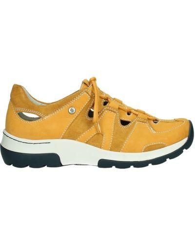 Pomarańczowe sneakersy skorzane Wolky