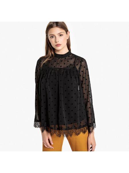 С рукавами черная кружевная блузка с длинным рукавом с воротником Best Mountain