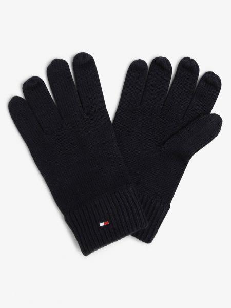 Z kaszmiru niebieskie rękawiczki Tommy Hilfiger