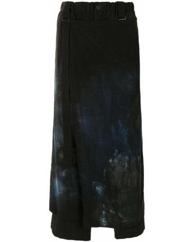 Asymetryczny czarny wełniany spódnica z paskiem Yohji Yamamoto
