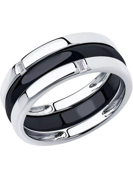 Черное кольцо с декоративной отделкой Sokolov
