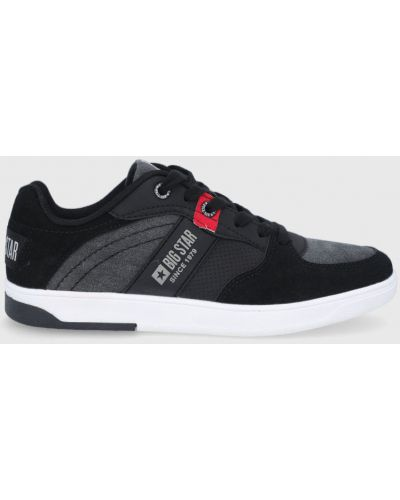 Czarne sneakersy na obcasie sznurowane Big Star