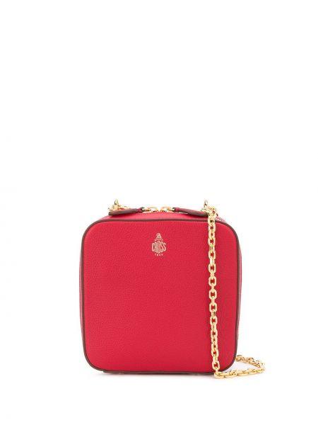 Золотистая красная кожаная сумка металлическая Mark Cross