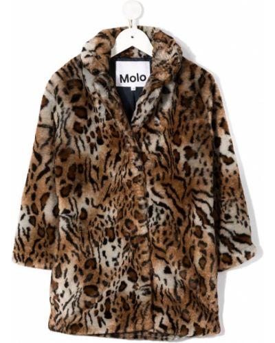 С рукавами коричневое пальто на пуговицах из искусственного меха Molo