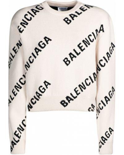 Sweter bawełniany - biały Balenciaga