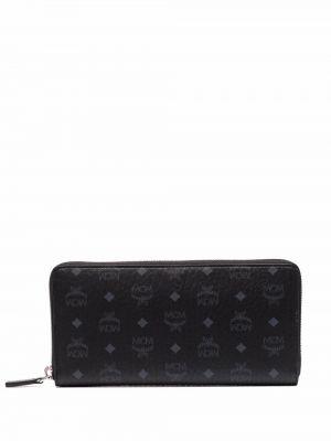 Czarny portfel skórzany Mcm