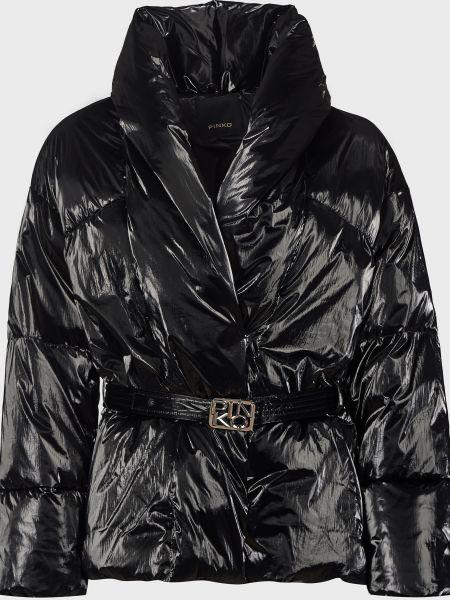 Черная куртка с поясом на кнопках Pinko