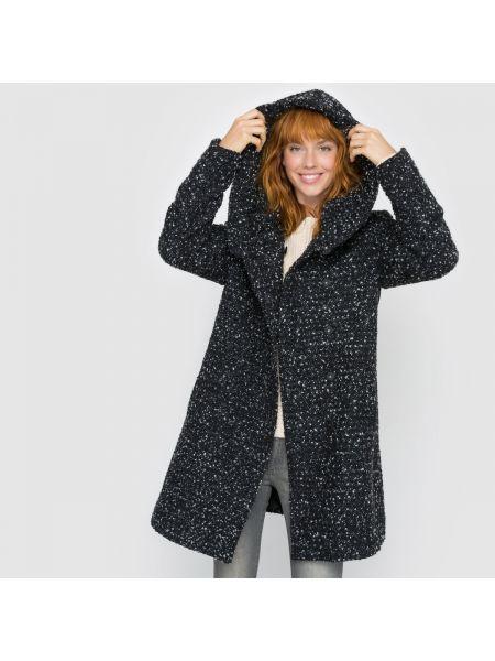Пальто с капюшоном свободное шерстяное Vila