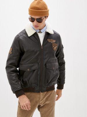 Коричневая кожаная куртка Zolla