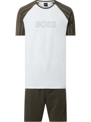 Zielona piżamy z szortami bawełniana krótki rękaw Boss