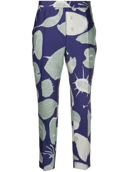 Шерстяные укороченные брюки мятные с карманами с высокой посадкой Christian Wijnants