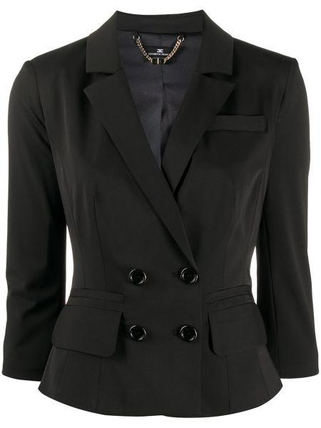 Черный приталенный пиджак с карманами Elisabetta Franchi
