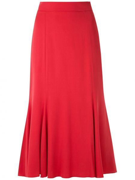 Красная с завышенной талией юбка миди со складками Dolce & Gabbana