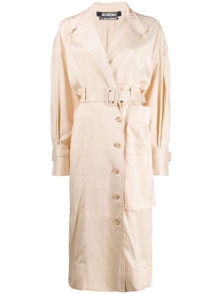 Beżowy płaszcz z paskiem z długimi rękawami Jacquemus