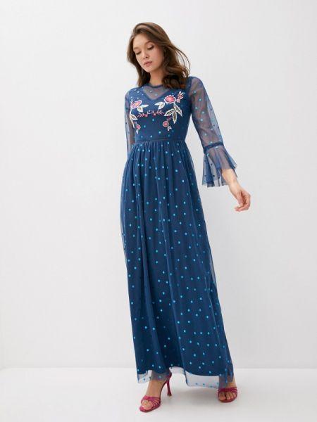 Платье прямое синее Frock And Frill
