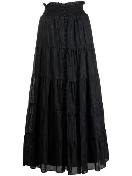 Черная шелковая юбка миди на пуговицах Alice+olivia