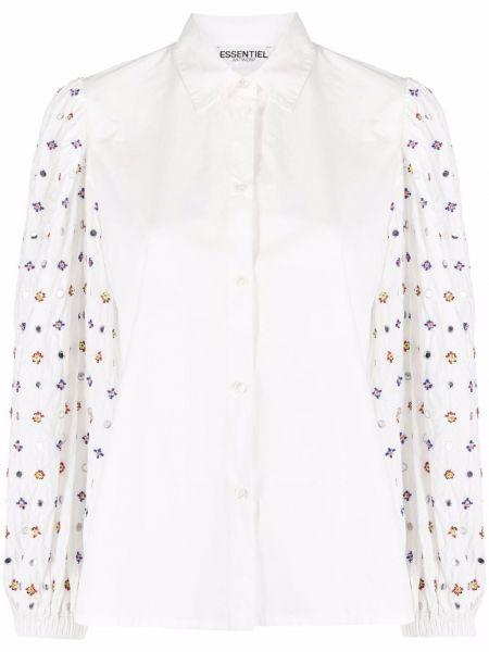 Белая блузка с воротником с длинными рукавами Essentiel Antwerp