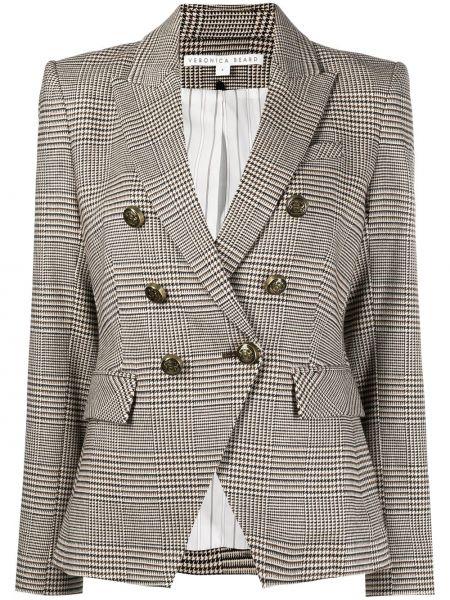Шерстяной удлиненный пиджак в клетку двубортный на пуговицах Veronica Beard